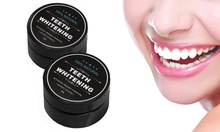 Poudre de blanchiment des dents au charbon activé et ensemble de brosses à dents ...