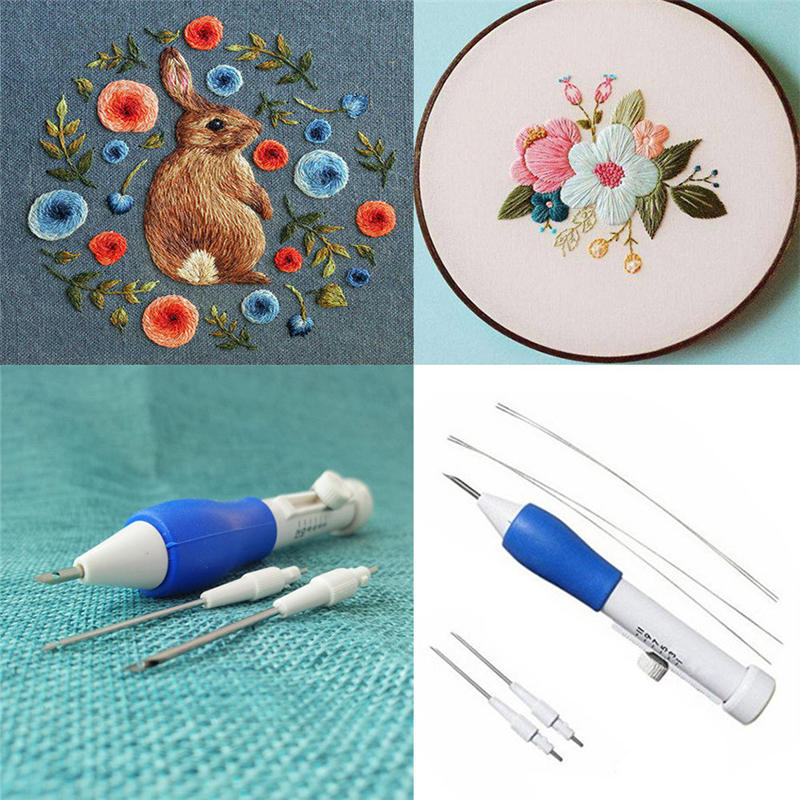 ABS Plastic Magic Embroidery Pen Punch Needles Set 1.3mm 1.6mm 2.2mm Needles Sewing Accessories with Storage Box